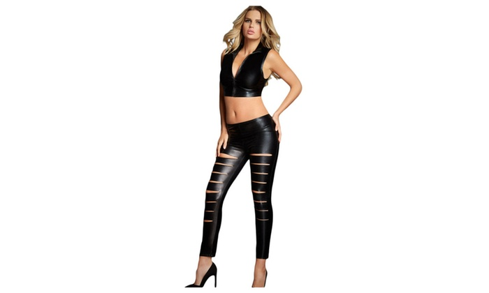 Women's Black Leather Look Ribbed Slit Front Leggings