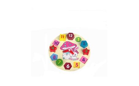 Funny Wooden Clock Toy Baby Kid Geometric Block Match Puzzle Gift 5353b674-fe99-4e29-8e10-3502fa828478