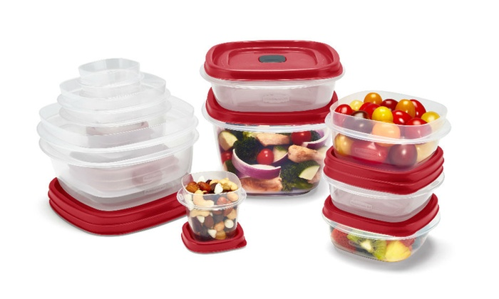 24-Piece Set Racer Red Easy Find Vented Lids Food Storage Containers Organizer