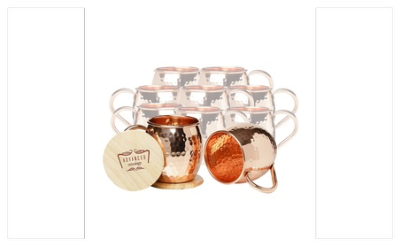 Set of 10 Moscow Mule Barrel Mugs (Copper Handle) ed35bfcb-6fa3-48e4-aae0-0e7091dc80b1
