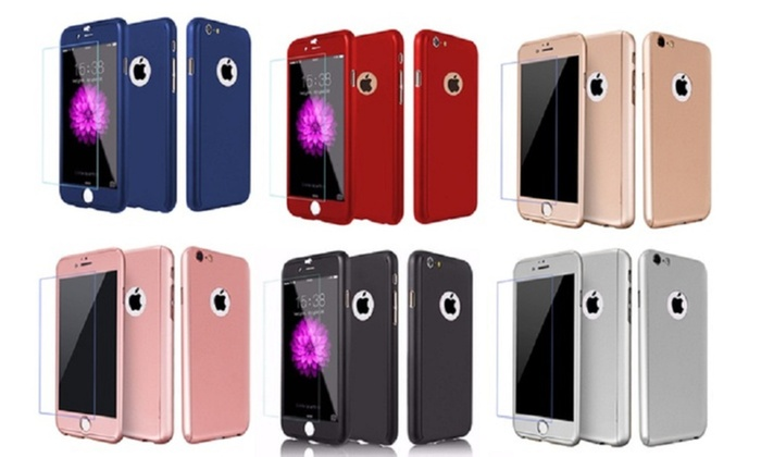 c3b719a7ed4 Slim 360 Degree Case with Tempered Glass for iPhone 6/6 Plus/7/