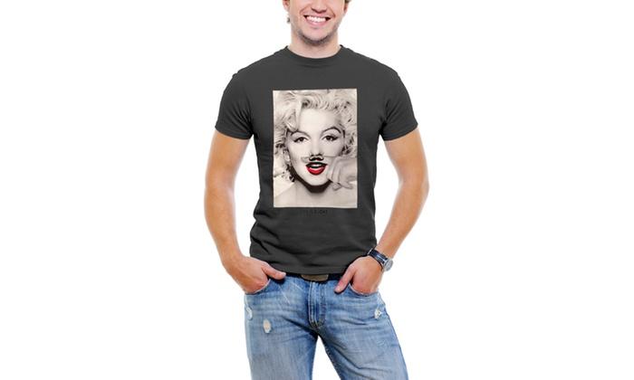 Marilyn Monroe Finger Mustache Men T-Shirt Soft Cotton Short Sleeve