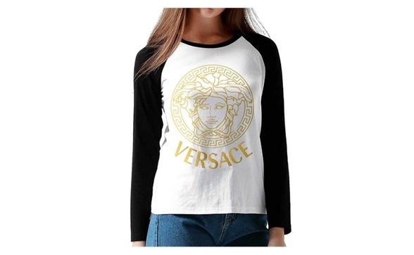 ac0d6e57 Long Sleeve Raglan Tee Shirt Versace Gold Logo Women's Tops