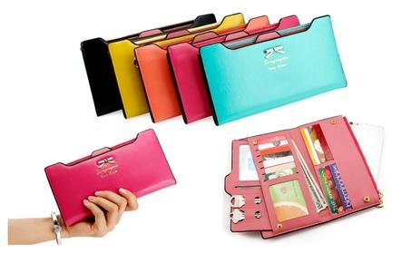 Fashion Lady Women Leather Clutch Purse Long Zip Card Holder Wallet (Goods Women's Fashion Accessories Handbags) photo