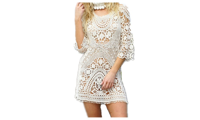Women's Floral Lace Crochet Cover up Tunic Tops Shirts Free Size