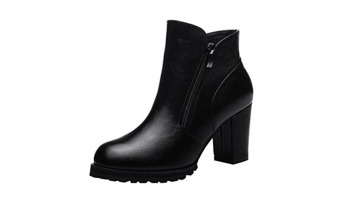 Women's Zipper Chunky Heel Waterproof Platform Ankle PU Leather Boots