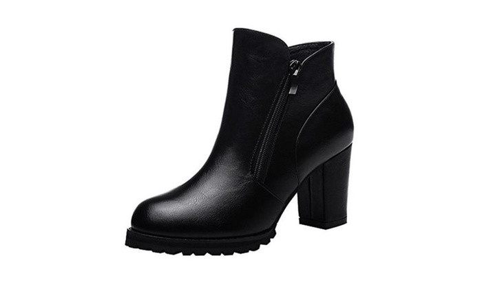 Passionow Women's Classic Zipper Chunky Heel Waterproof Platform Ankle PU Leather Boots