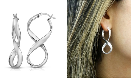 Italian Made Solid Sterling Silver Infinity French Lock Hoop Was: $31.99 Now: $7.99.