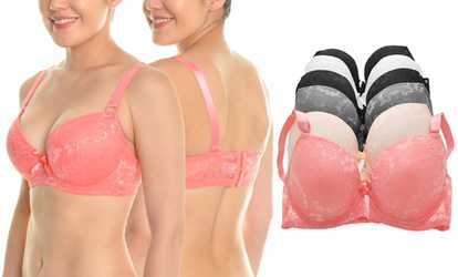 c7e8dddb27 Shop Groupon Angelina Floral Satin Lace Wired Bras with Wide Lace Wings (6- Pack)