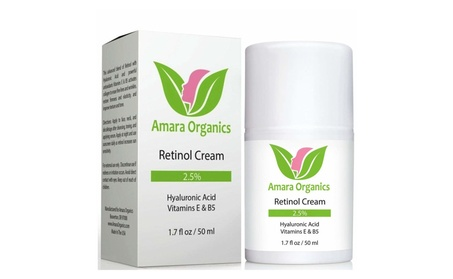 Amara Organics Retinol Cream for Face 2.5% with Hyaluronic Acid 1.7 oz