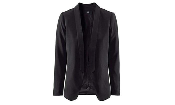 SWORLD Womens Casual Shawl Collar Petite white blazer Suit Open Blazer