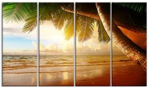 Caribbean Beach Sunrise Landscape Photo Metal Wall Art 48x28 4 Panels