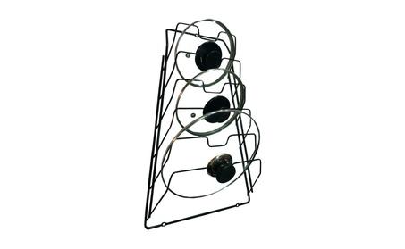 Wall Pot Lid Rack Holder Organizer for Kitchen, Cabinet (Black) 25f59eac-73cb-4a4e-874a-e5ea8188d735