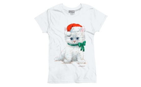 Cute Christmas Kitten Santa Hat Ladies T-Shirt a6287919-54f9-477e-ba9c-94ddde3d452b