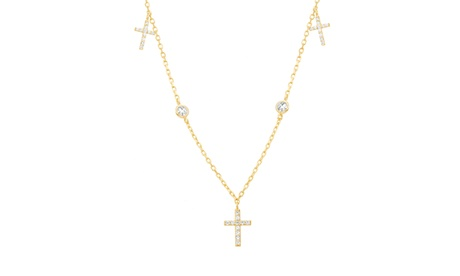 18K Gold Sterling Silver CZ Bezel/Cross Station Cable Chain Choker 6d0fe820-e36f-4e8f-a462-b58928f82c75