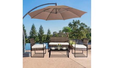 Outdoor Leisure Rattan Furniture Wicker Chair Metal Armrest (4-piece)