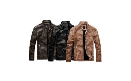 Men's Full Zip Up Vintage Stand Collar Winter Faux Leather Jacket 3b320b40-b273-4191-bdf0-47092822c656