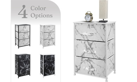 Sorbus Nightstand Dresser with 3 Drawers - Bedroom Furniture - Marble Collection