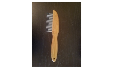 Pet Steel Grooming Flea Comb Tool with Bamboo Wood Handle for Dogs Cat c56c7164-463f-4ce0-874d-c6c88bd5462c