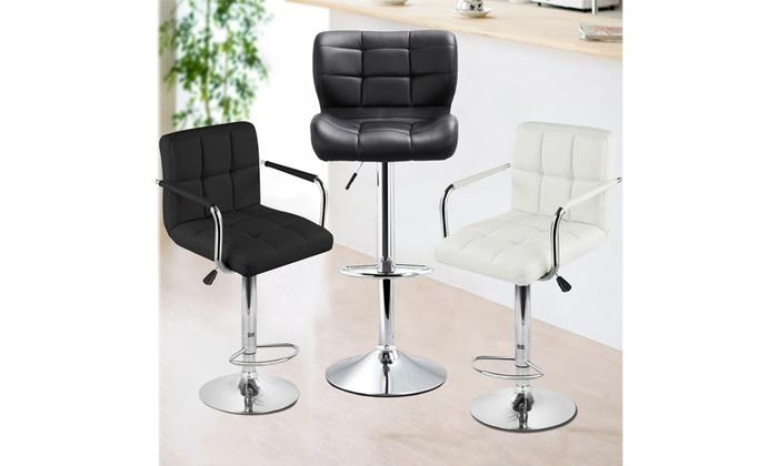 2pcs White/Blk Bar Stools Swivel Chair Kitchen Gas Lift ...