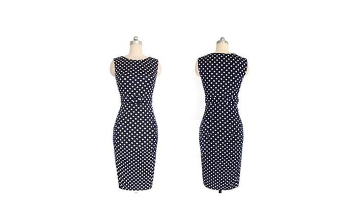 Women Elegant   Polka  Dots Cocktail Party Pencil Dress Blue