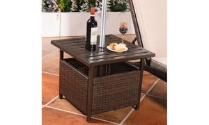 Costway Outdoor Rattan Wicker Steel-Frame Side Table