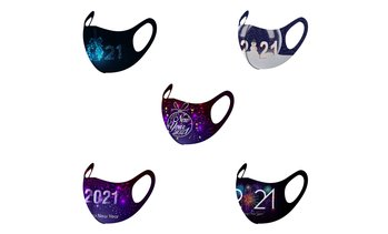 5PCS Adult 2021 New Year Print Washable Reusable Mouth Face Windproof Face Mask