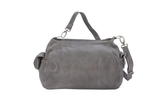 Piel Leather 3041 - CHAR Top - Zip Shoulder Bagcross Body Hobo - Charcoal  Multi-color 59d349d737171