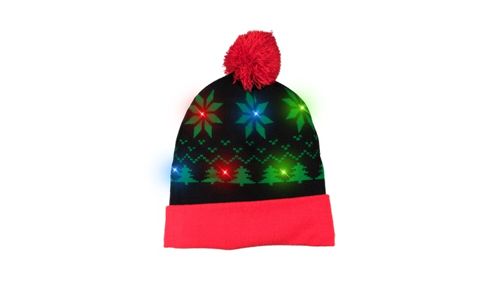 1ee821e093796 LED Light-up Knitted Ugly Sweater Holiday Xmas Christmas Beanie Hat