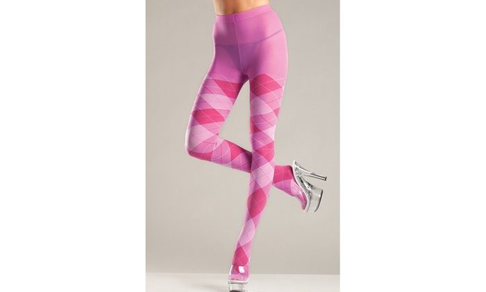 a8bac5369f2e3 Be Wicked BW646PK Argyle Tights Pantyhose Bubble Gum Pink - One Size ...