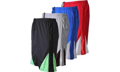 4 Pack - Men's Mesh Active Shorts Quick-Dry Workout Gym with Pockets 4 Colors