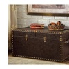 Maurice Antique Brown Nail head Trim Faux Leather Storage Trunk
