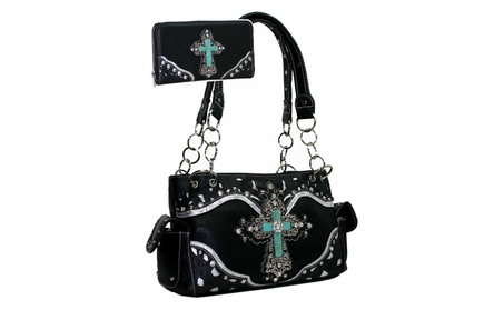 Gold Rush Turquoise Jade Stone Decorated Cross Accent Purse Wallet Set (Goods Women's Fashion Accessories Handbags) photo