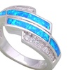 925 Sterling Silver White Cubic Zirconia blue Fire Opal Ring