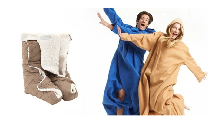 Comfortable Stay Home Lounge Set: Blanket and Foot Wamers