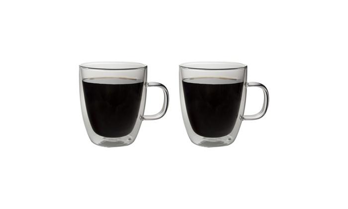 Haus By Kalorik Double Wall Glass Coffee Mugs 13 Fl Oz Set Of 2