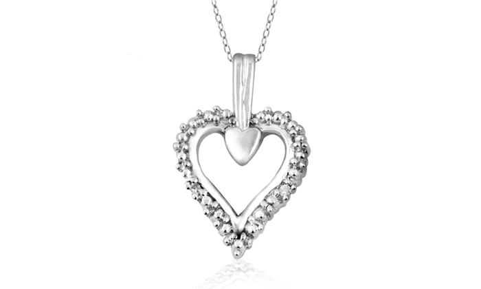 Jewelonfire diamond accent heart pendant in ss 21163 groupon jewelonfire diamond accent heart pendant in ss 21163 aloadofball