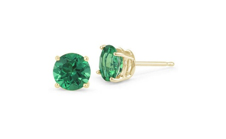 14k Yellow Gold Round Lab-Created Emerald Gemstone Stud Earrings f943c797-ea34-43b3-ac12-14c5962545da