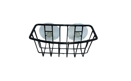 Durable Steel Black Coated Large Suction Cups Kitchen Sponge Holder 2e886743-d84c-4618-8929-d4cca4ff6f9d