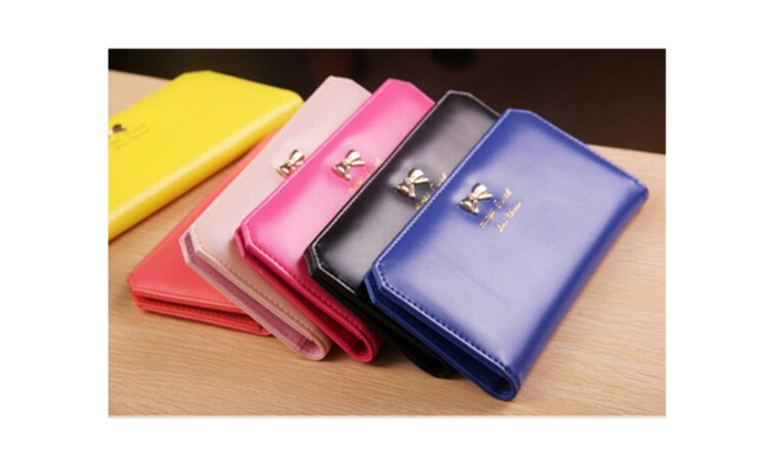 Fashion Women's Leather Bowknot Clutch Wallet Long Card Holder Purse