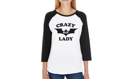 365 Printing Crazy Bat Lady T-Shirt Womens Graphic Baseball Tshirt For Halloween