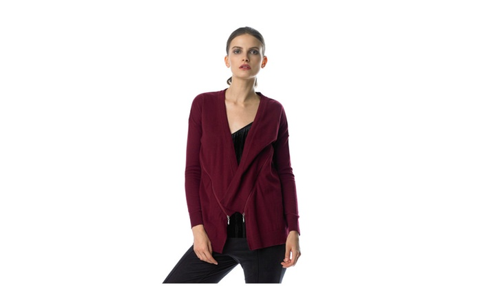 Andrew Outfitter Open Drape Front Cardigan with Asymmetric Zipper