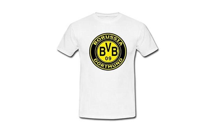 Nice apparel: Borussia Dortmund BVB 09 Logo Boy Mens White Tshirt Tees