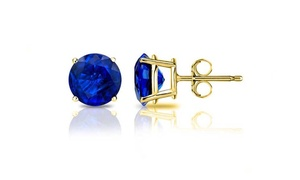 14K Yellow Gold Sapphire 2.00 CTTW Stud Earrings by Valencia Gems