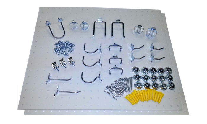 2) Poly Pegboards and 22 Locking Hooks