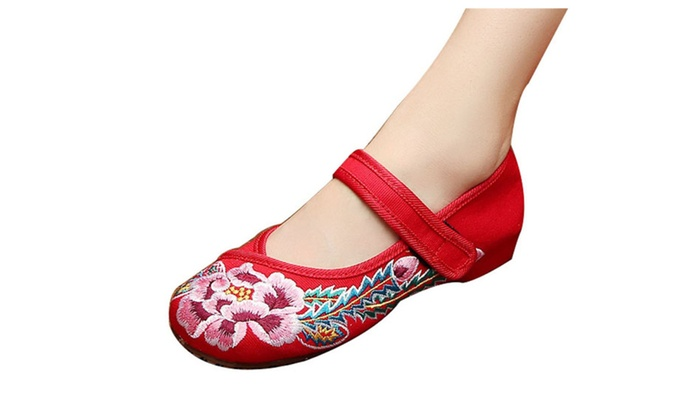 Women's Marry Jane Embroidery Flat Shoes