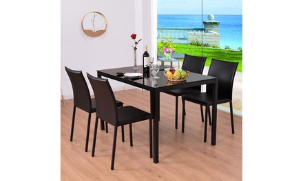 Costway 5 Piece Dining Set Glass Top Table and 4 PU Chairs Kitchen Breakfast