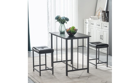 3-Piece Counter Height Dining Table Set for Kitchen Black