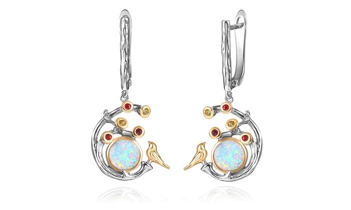 Two Tone Bird Nest Fire Opal Earrings By Gemby