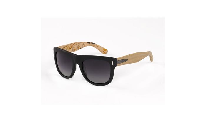 17dbd948dd Hang Ten Gold Surf Woody-Matte Black Pine Wood-Green Lens